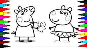 PEPPA PIG Coloring Book Pages Kids Fun Art Activities Videos For Children Learn Rainbow Colors