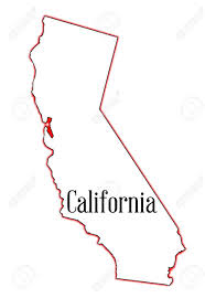 State Map Outline Of California Over A White Background Stock Vector