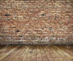 Old Interior With Brick Wall Vintage Background Stock Photo