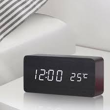 led digital wecker tischuhr holz uhr beleuchtet nacht thermometer snooze alarm qingshop