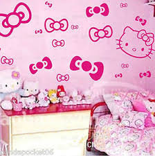 Image Is Loading HELLO KITTY Amp BOWS WALL STICKERS ART DECAL