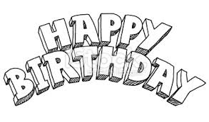Happy birthday lettering drawing stock illustration