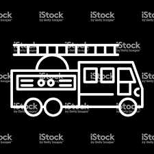 100 Black Fire Truck With Ladder Line Icon Vector Illustration Isolated On