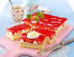 erdbeer zitronenkuchen mit vanillepudding