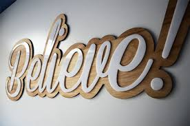 finished believe sign birch wood base cut to shape on the cnc