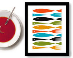 Kitchen Art Fish And Forks Mid Century Modern Cooking Decor