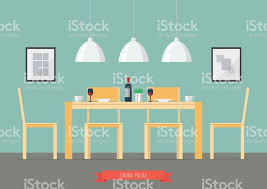 Flat Design Interior Dining Room Vector Art Illustration On Clipart Images