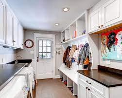 Traditional Galley Utility Room Idea In Denver With Recessed Panel Cabinets White