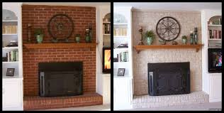 Paint Colors Living Room Red Brick Fireplace by Painted Fireplaces Before And After Painted The Fireplace Brick