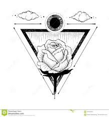 Sketch Of A Beautiful Rose Flower And Triangle On A White Stock
