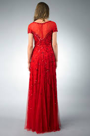 basix black label d6183l red lace and sequin evening dress by