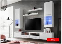 details zu wohnwand schrankwand wohnzimmer anbauwand hochglanz led beleuchtung wiki weiss