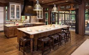 White Country Kitchen With Butcher Block L Shaped Beige Painted Honey Maple Wood Island Ceiling Lighting