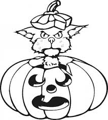 Cat Playing With A Halloween Pumpkin Coloring Page