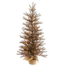 4 Pre Lit Golden Brown Artificial Christmas Tinsel Twig Tree In Burlap Base