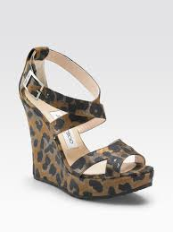 jimmy choo penny leopard print wedge sandals in black lyst