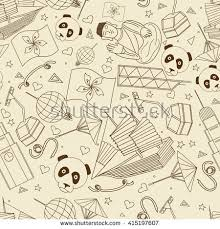 Hong Kong Seamless Retro Line Art Design Vector Illustration Separate Objects Hand Drawn Doodle