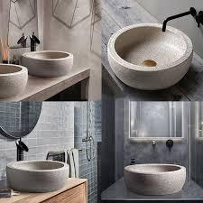 stein waschbecken arbeitsplatte waschbecken runde