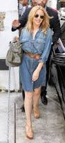 Roxy Hunter And The Horrific Halloween Dvd by Kylie Minogue Looks Pretty In Belted Denim Dress As She Stops For