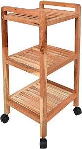 ts ideen roll regal standregal mit rollen höhe 77 cm aus walnuss massivholz für bad wohnzimmer sauna flur diele küche büro und kinderzimmer