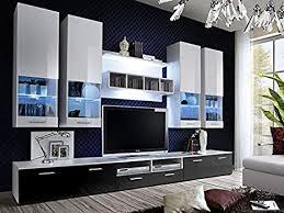 kryspol wohnwand alfa ii anbauwand wohnzimmer set modern design weiß weiß hochglanz schwarz hochglanz hochglanz