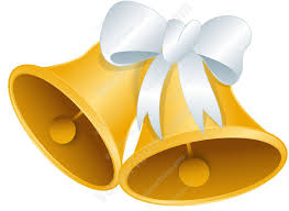 Gold Wedding Bells With A White Bow Cartoon Clipart