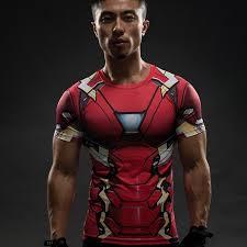 Iron Man T Shirt Captain America Civil War Tee 3D Printed Shirts Men Compression