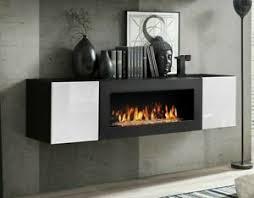 details zu tv lowboard kers sbk mit biokamin stilvoll tv schrank wohnzimmer hifi tisch