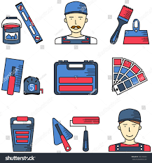 Interior Designer Plasterer And Decorator Icons Set In A Linear Style Color Chart