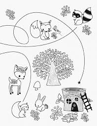 Woodland Animals Coloring Pages Free