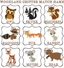 Printable Forest Creature Match Game