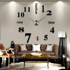 3D DIY Large Wall Clock Black Decorating