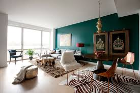 Teal Grey Brown Living Room And
