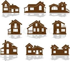 Set Of Apartment House Icons In Brown And White Showing Different Styles Building Silhouette Vector