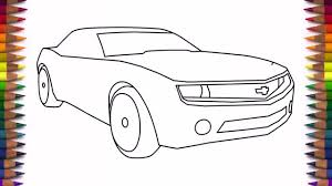 How to draw a car Chevrolet Camaro Bumblebee step by step easy drawing for kids