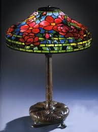 a peony leaded glass and bronze table l tiffany studios