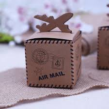 20pcs Rustic Wedding Decor Air Mail Kraft Paper Candy Box Travel Themed Decoration Mariage Vintage