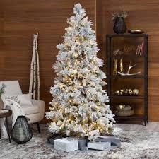 Lightly Flocked Snowbell Pine Pre Lit Full Christmas Tree Green With White