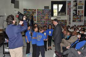 Weprin Visits P S 203 With NY1 Host Errol Louis