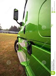 100 Semi Truck Mirrors Side Of Green Modern Rig In Perspective Stock Image