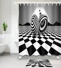 großhandel 3d schwarz weiß drucken bad duschvorhänge modern style duschvorhang für badezimmer dekor mit 12 haken fußmatten sets paintingart2017