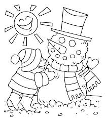 Winter Young Little Kid Making Mr Snowman On Sunny Season Coloring Page