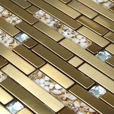 streifen goldene metall gemischt sea shell harz glas gemischte diamant mosaik küche backsplash fliesen badezimmer dusche kachel flur grenze