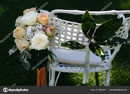 White Orange Wedding Bouquet Put Garden Chair Stock Photo