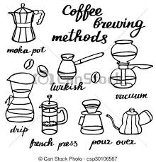 Coffee Brewing Methods Set Hand Drawn Cartoon Makers Doodle Drawing