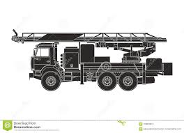 100 Black Fire Truck Engine On The White Background Stock Illustration