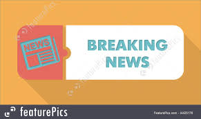Breaking News On Blue Background In Flat Design