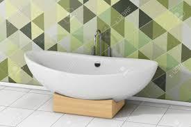 moderne weiße wanne vor der olivgrünen grünen mosaikfliesen im badezimmer nahaufnahme 3d rendering