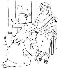 Woman Washes Jesus Feet Coloring Page