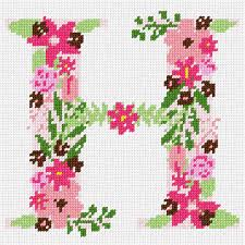 The Letter H Flowering Needlepoint Kit Or Canvas FloralAlphabet